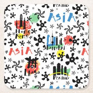 Asia | Symbols Pattern Square Paper Coaster