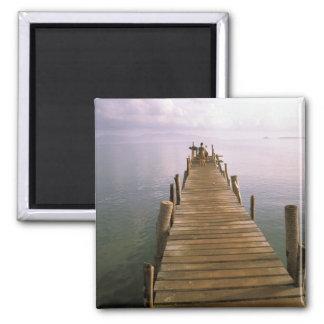 Asia, Thailand, Ko Samui Island. Dock. Square Magnet