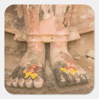 Asia Thailand, Sukhothai, Buddha's feet and Square Sticker
