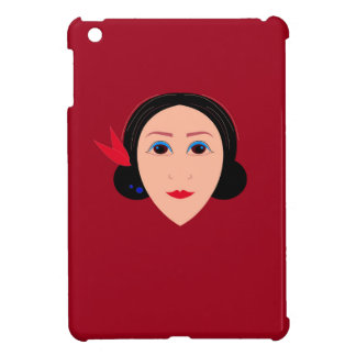 Asia wellness woman on  red case for the iPad mini