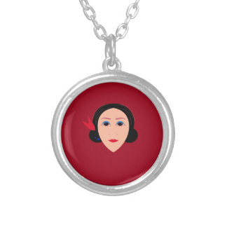 Asia wellness woman on  red silver plated necklace