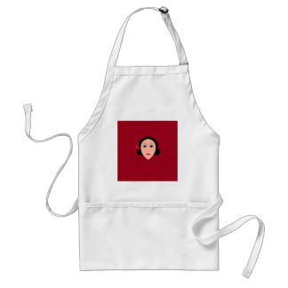 Asia wellness woman on  red standard apron