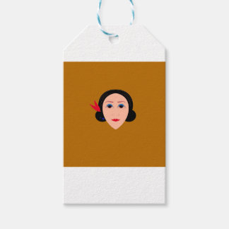 Asia woman on gold gift tags
