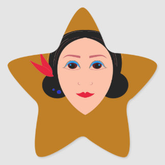 Asia woman on gold star sticker