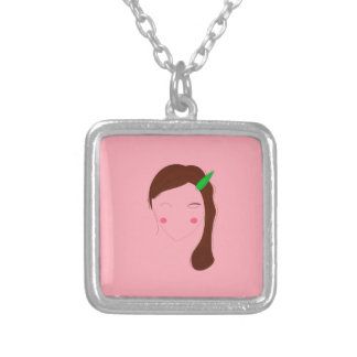 Asia woman pink wellness girl silver plated necklace