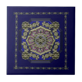 Asian Art Deco Traditional Jeweled Ceramic Tile