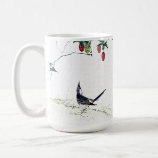 Asian Baby Birds Berries Flowers Mug