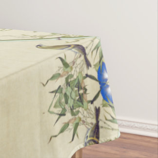 Asian Bamboo Birds Blue Flowers Tablecloth