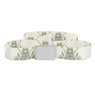Asian Bamboo Birds Blue Morning Glory Flowers Belt
