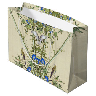 Asian Bamboo Blue Flowers Birds Gift Bag