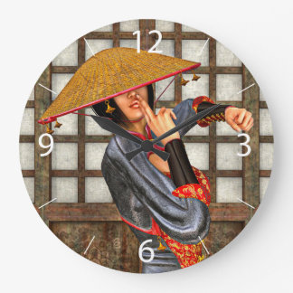 Asian Battle Woman Clock