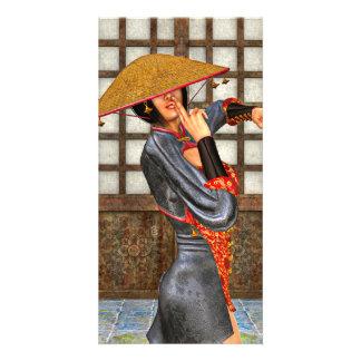 Asian Battle Woman Custom Photo Card