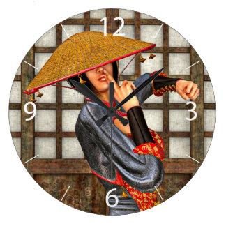 Asian Battle Woman Large Clock