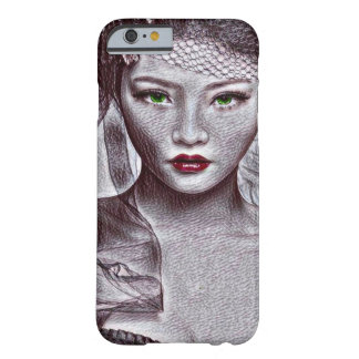 Asian Beauty With Red Lipstick Portrait Drawing Barely There iPhone 6 Case
