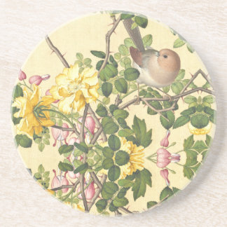 Asian Bird Roses Heart Flowers Coaster