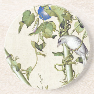 Asian Birds Bamboo Blue Flowers Coaster