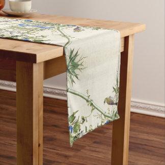 Asian Birds Bamboo Blue Flowers Table Runner