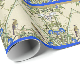 Asian Birds Bamboo Blue Flowers Wrapping Paper