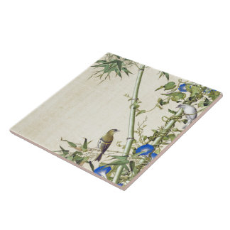 Asian Birds Bamboo Blue Morning Glory Flowers Tile