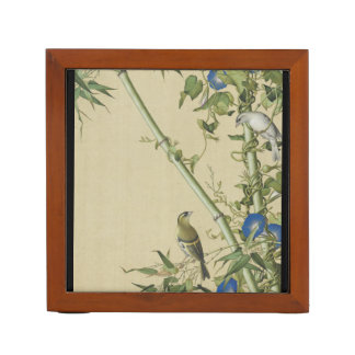 Asian Birds Flowers Animals Bamboo Desk Organizer