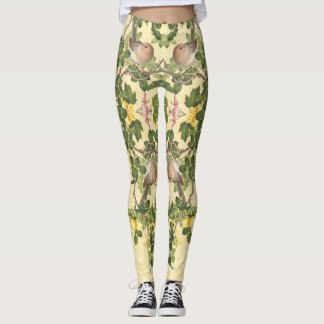 Asian Birds Roses Flowers All Over Print Leggings