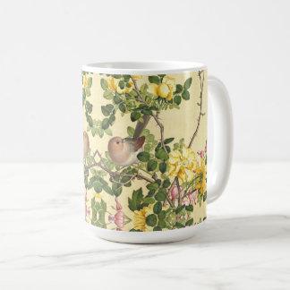 Asian Birds Roses Heart Flowers Wildlife Mug