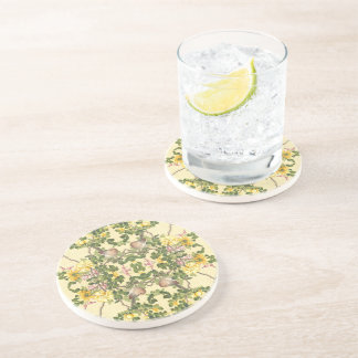 Asian Birds Roses Hearts Flowers Coaster