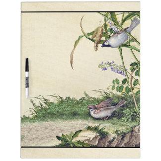 Asian Birds Wildflower Flowers Dry Erase Board