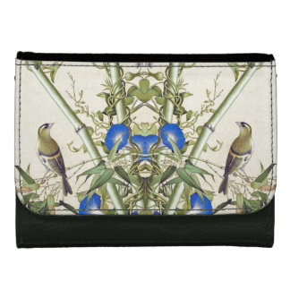 Asian Birds Wildlife Animals Blue Flowers Wallet