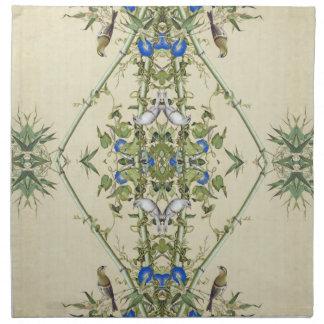 Asian Blue Flowers Bamboo Birds Cloth Napkins