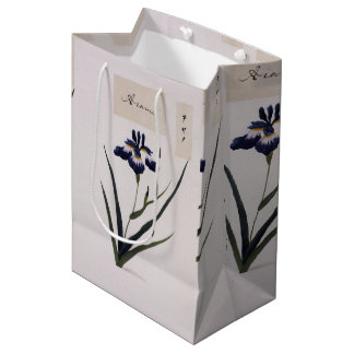 Asian Blue Iris Flowers Watercolor Gift Bag