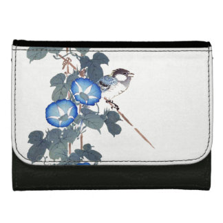 Asian Blue Morning Glory Flowers Bird Wallet