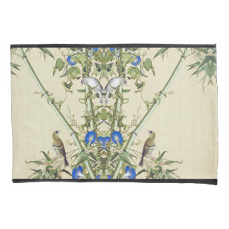 Asian Blue Morning Glory Flowers Birds Pillowcase