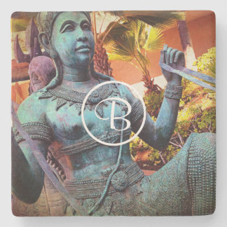 Asian blue warrior statue photo custom monogram stone coaster