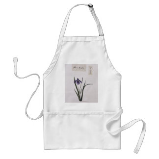 Asian Botanical Iris Flower Watercolor Apron