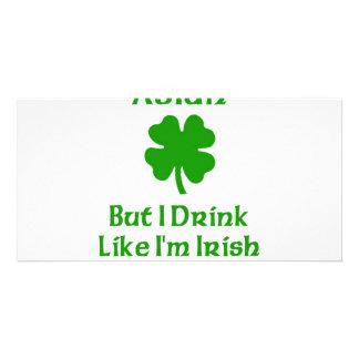 Asian But I Drink Like I'm Irish Photo Card Template