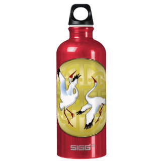 Asian Dancing Cranes on Golden Circle Water Bottle
