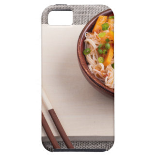 Asian dish of rice noodle in a small wooden bowl iPhone 5 cover