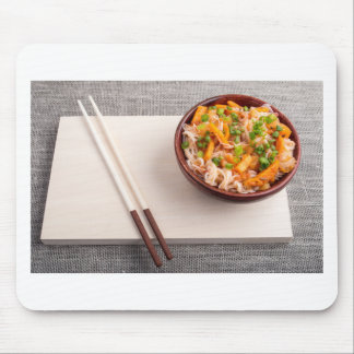 Asian dish of rice noodle in a small wooden bowl mouse pad