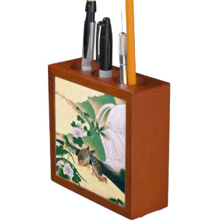 Asian Dove Birds Flowers River Desk Organizer