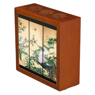 Asian Dove Birds Wisteria River Desk Organizer