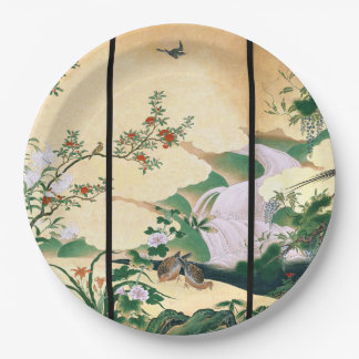 Asian Dove Birds Wisteria Rose Floral Paper Plates