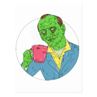 Asian Dude Drinking Coffee Grime Art Postcard