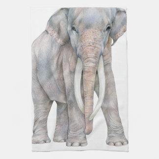 Asian Elephant Bull Tea Towel
