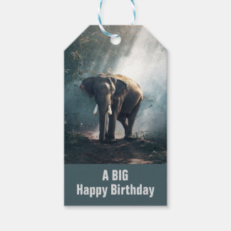 Asian Elephant in a Sunlit Forest Birthday Gift Tags