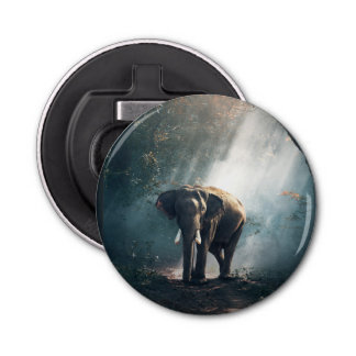 Asian Elephant in a Sunlit Forest Clearing Bottle Opener