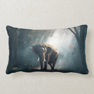 Asian Elephant in a Sunlit Forest Clearing Lumbar Cushion