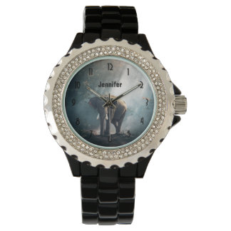Asian Elephant in a Sunlit Forest Clearing Watch