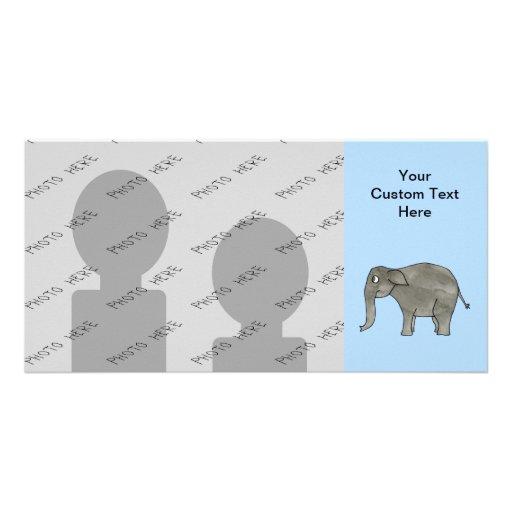 Asian Elephant, on light blue. Custom Photo Card