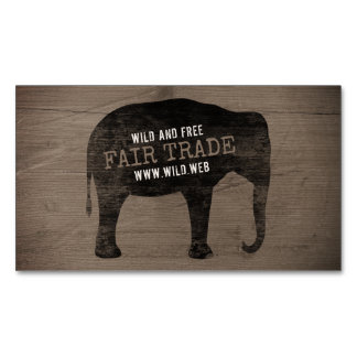 Asian Elephant Silhouette Rustic Style Magnetic Business Card